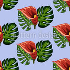 Tropical Leaves And Callas Seamless Vector Pattern Design