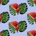 Tropische Blätter und Callas Nahtloses Vektormuster