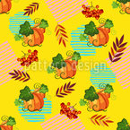 Pumpkins And Red Currants Seamless Vector Pattern Design