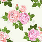 Roses And Leaves In Summer Seamless Vector Pattern Design