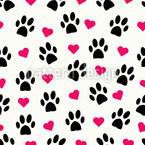 Paws And Hearts Repeating Pattern