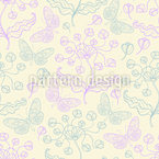 Butterflies And Spring Flowers Seamless Vector Pattern Design