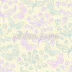 Borboletas E Flores Primavera Design de padrão vetorial sem costura