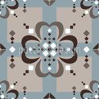 Geometric Flowers On Fair Isle Seamless Vector Pattern Design