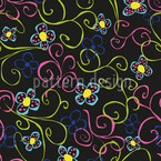 Flower Swirls Seamless Vector Pattern