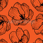 Tulpen Strichkunst Nahtloses Vektormuster