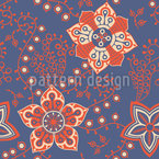 Flores da Noite Paraíso Design de padrão vetorial sem costura