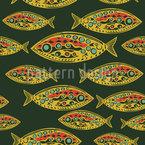 Glowing Fish Seamless Vector Pattern Design