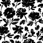 Brush Peonies Seamless Vector Pattern Design