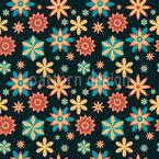 Stylized Fantasy Flower Seamless Vector Pattern Design