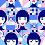 Women Faces And Abstract Geometry Seamless Vector Pattern Design