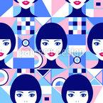 女性面孔和抽象几何 无缝矢量模式设计