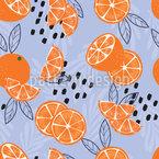 葉付きオレンジ シームレスなベクトルパターン設計