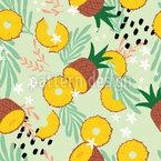 Festa do abacaxi na selva Design de padrão vetorial sem costura