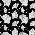 Monochrome Ginkgoblätter Nahtloses Vektormuster