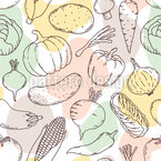 Frisches Gemüse Und Abstrakte Formen Nahtloses Vektormuster