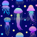 Jellyfishes Seamless Vector Pattern Design
