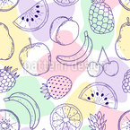 Fresh Fruits And Abstract Shapes Seamless Vector Pattern Design