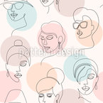 Minimalistic Faces Vector Pattern