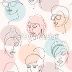 Visages minimalistes Motif Vectoriel Sans Couture