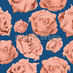 Art Rose Blue Seamless Vector Pattern Design