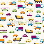 Carros e ônibus Design de padrão vetorial sem costura