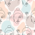 Rosas y mujeres soñando Estampado Vectorial Sin Costura
