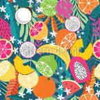 Tropischer Früchte-Mix Nahtloses Vektormuster