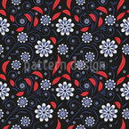 Twigs With Flowers And Leaves Seamless Vector Pattern Design