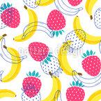 Bananen Und Erdbeeren Nahtloses Vektormuster