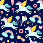 Flying Unicorns Seamless Vector Pattern Design