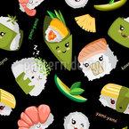 カワイイ寿司 シームレスなベクトルパターン設計