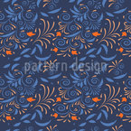 Fantasy Flowers And Leaves On Spirals Seamless Vector Pattern Design