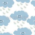 Aüße Wolken Mit Regentropfen Nahtloses Vektormuster