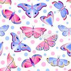 Dots And Butterflies Seamless Vector Pattern Design