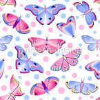 Dots And Butterflies Vector Pattern