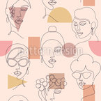 One Line Faces Seamless Vector Pattern Design