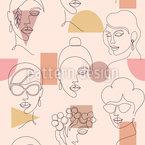 One-Line Gesichter Nahtloses Vektormuster