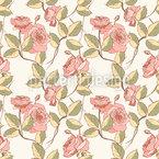 Vintage Rosen Und Blätter Nahtloses Vektormuster