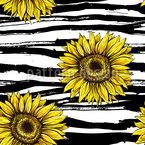 Sonnenblumen Auf Streifen Nahtloses Vektormuster