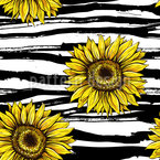 Sunflowers On Stripes Repeating Pattern
