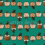 Cacti Garden Seamless Vector Pattern Design