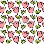 Tulip Outlines On Shapes Pattern Design