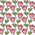 Tulpenumrisse Auf Formen Nahtloses Vektormuster