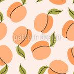 Aprikosen Mit Blättern Nahtloses Vektormuster