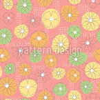 Summer Flowers On Abstract Shapes Seamless Vector Pattern Design