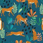 Geparden In Freier Wildbahn Nahtloses Vektormuster