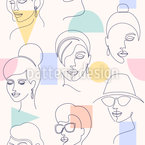 Faces And Geometric Shapes Seamless Vector Pattern Design