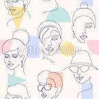 Gesichter Und Geometrische Formen Nahtloses Vektormuster