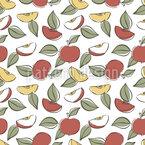 Geschnittene Äpfel Mit Blättern Nahtloses Vektormuster
